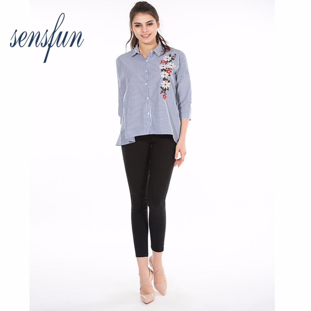 Sensfun 2018 Casual Women Blouses Stripe Shirts Turn-down Collar Tops loose Ladies Shirt Blouse Tops Clothing Blusas