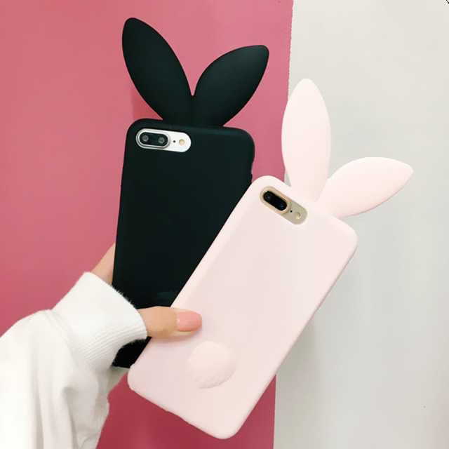 uk availability 7d0b0 4e15a US $4.65 |Cute Cartoon 3D Rabbit Ears Soft Silicone Cover For iphone 6 case  Black Full Protect Phone Cases Coque For iphone 6 6s 5s 7Plus-in Fitted ...