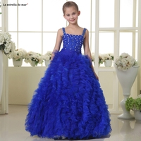 Kids ball gown2019 new tulle crystal sexy V neck A Line Royal blue flower girl dress long vestidos de primera comunion custom