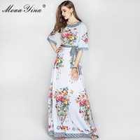 2018 High Quality Newest Fashion Runway Maxi Dress Women S Vintage Floral Designer Long Dress Fashion