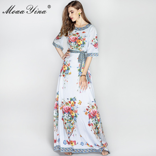 0f9f8601bd4 High Quality Newest Fashion Runway Maxi Dress Women s Vintage Floral  Designer Long Dress fashion white Half