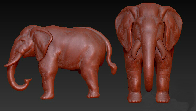 3D Model, Grayscale Model For CNC Machine 3D Model STL Format Elephant