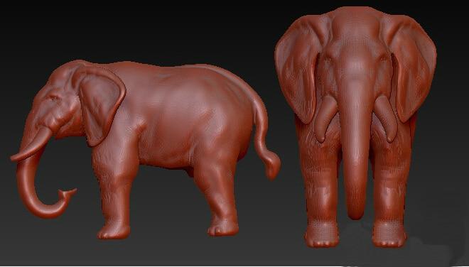 3D Model, Grayscale Model For CNC Machine 3D Model STL Format Elephant
