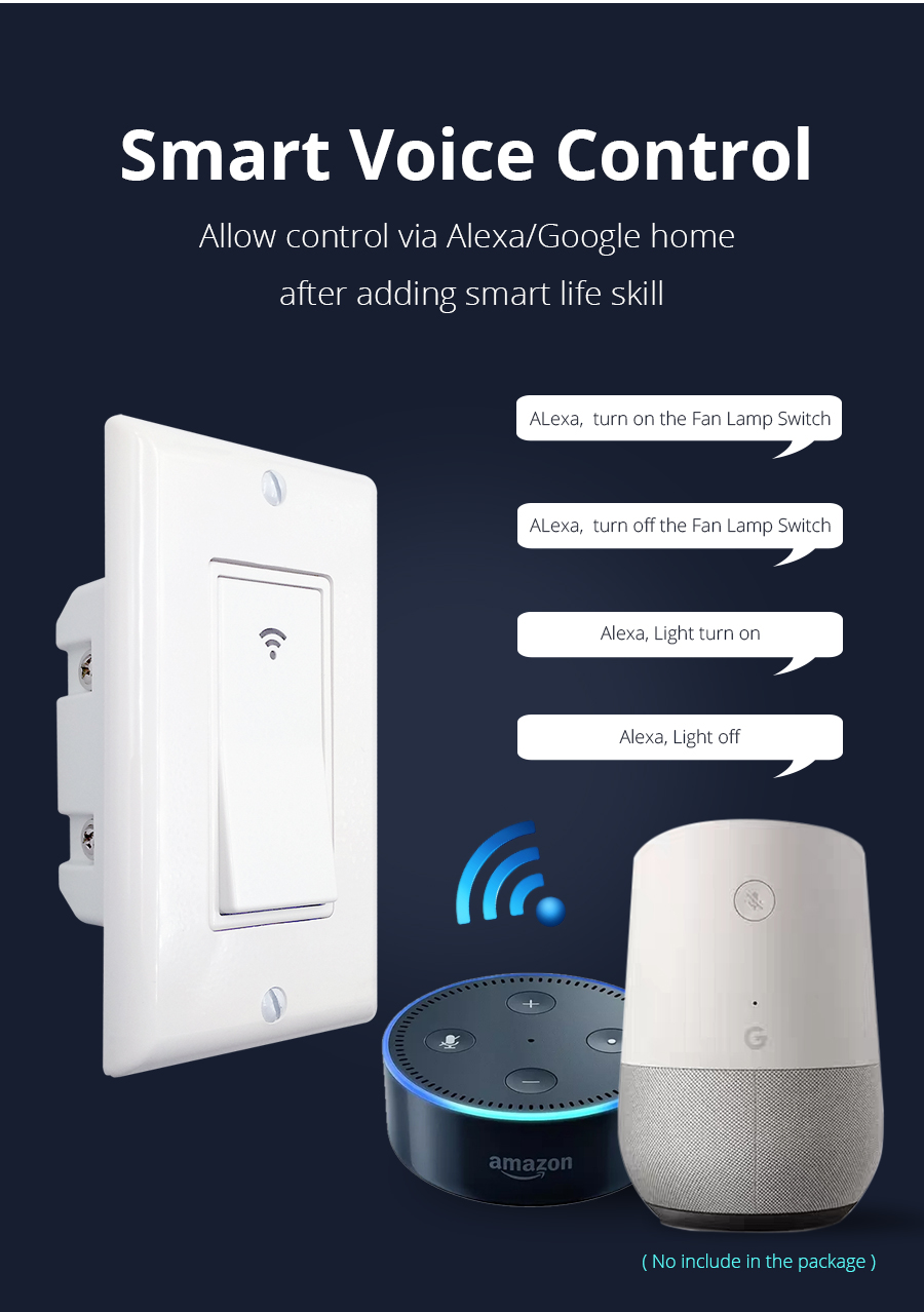 Zemismart WiFi switch Push Wall Switches Alexa Google home Enable APP  Remote Control