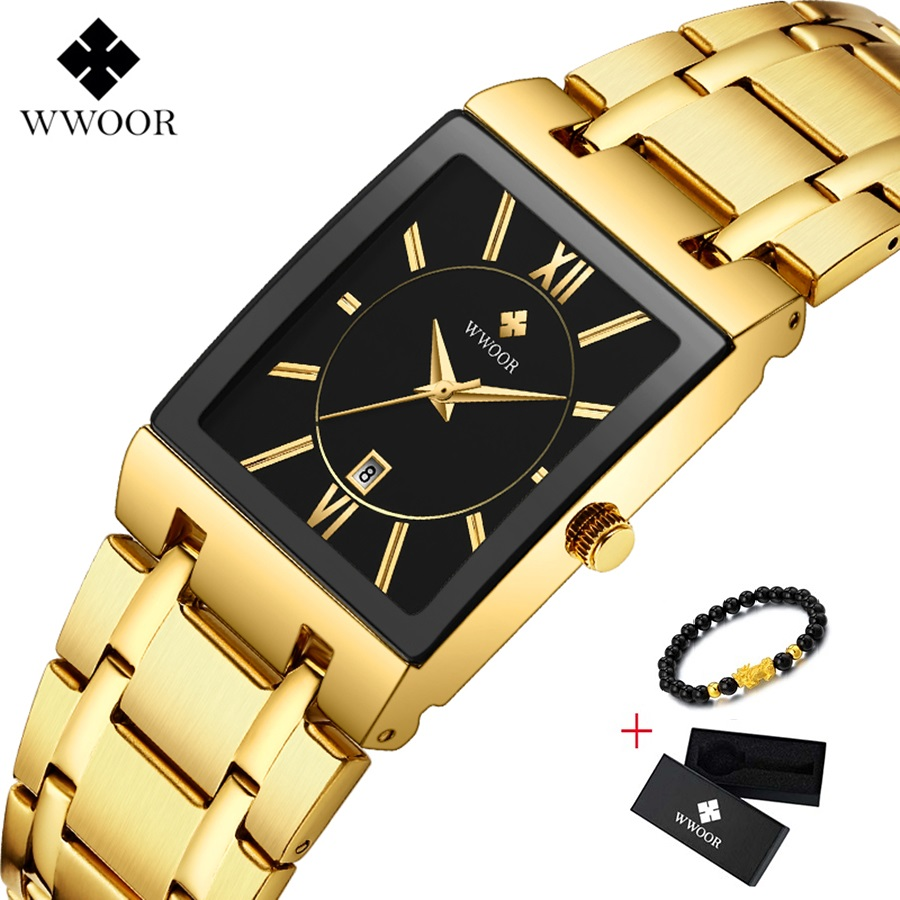 Square Watch Men Luxury WWOOR Stainless Steel Mens Wristwatch Calendar Man's Wrist Watches Waterproof Sports Casual Watches 2019