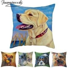 Fuwatacchi Dog Cat Cushion Cover Corgi Throw Pillow for Home Chair Sofa Decorative Pillows Linen Pillowcases 45*45cm