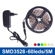 SMD3528 LED Strip Light Lamp 5m 60LED/m Non-waterproof Single Color Red Green Blue Yellow Warm White,White Power Supply 2A DC12V