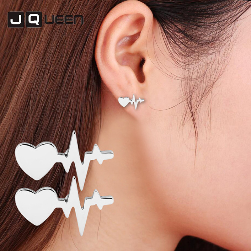 Fashion Heart Beat Stud Earrings Minimalist Simple Electrocardiogram Stud Earrings for W ...