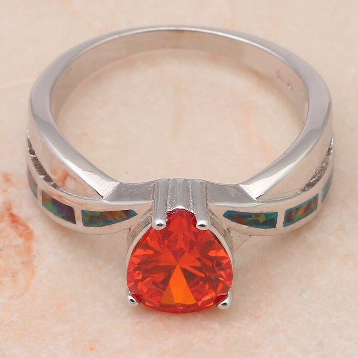 ROLILASON Wholesale Retail Orange fire Opal water drop Orange Zircon Silver Rings fashion jewelry USA Size #6 #6.75 #8 #9 OR617