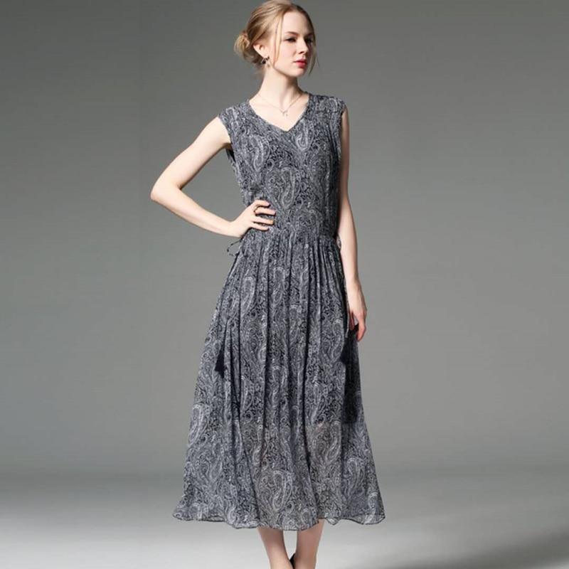 Women Real Silk Sleeveless Long Dress Spring Summer Vintage V Neck Silk Mid Calf Dresses Sashes Floral A Line Fashion Dress 2018