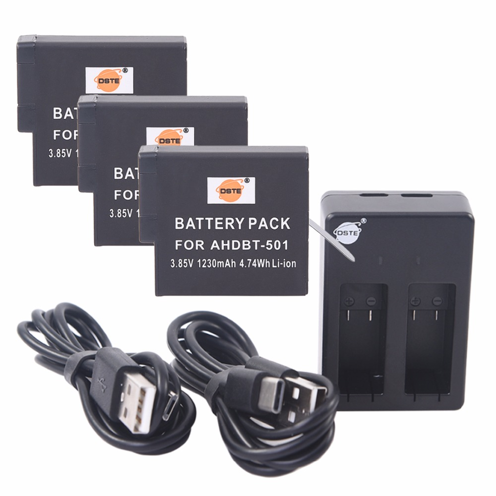 DSTE 3x AHDBT-501 ahdbt501 Li-ion Battery + DU501 Dual USB  cable charger For Gopro Hero 5 Camera