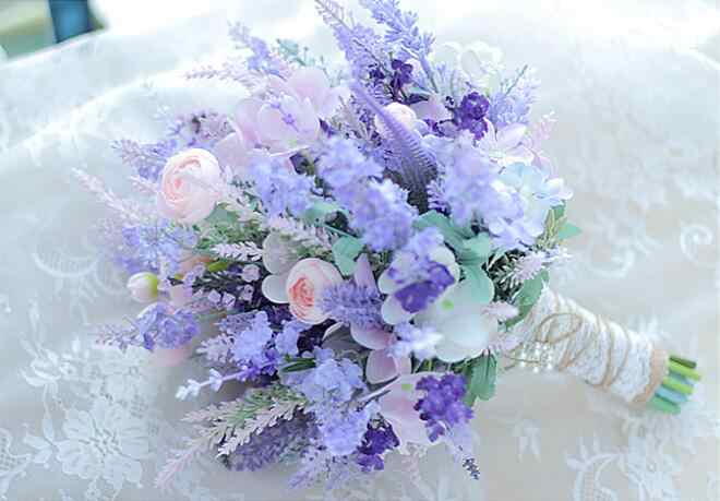 JaneVini ピンク紫ラベンダー結婚式の花ブライダルブーケ真珠花嫁の手の花束ブローチ人工結婚式のブーケマリアージュ