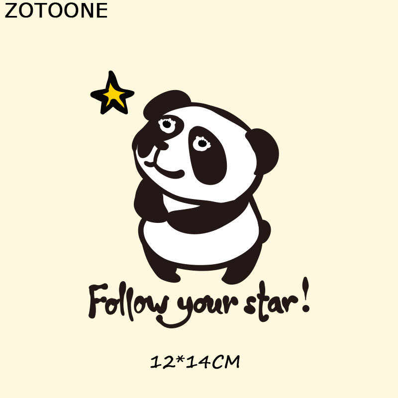 ZOTOONE Panda Patches Clothes Patch A level Washable DIY Accessory Decoration Iron on Transfers Heat Press Appliques for Kids F in Patches from Home Garden