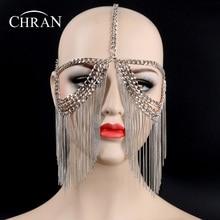 Chran New Sexy Women Multi Layer Tassel Head Chain Headdress Jewelry Forehead Headband Eye Cover Face Mask Body Jewelry CRB7140