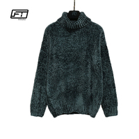 Fitaylor New Autumn Women Pleuche Knitted Sweater Casual Solid Loose Vintage Knitted Pullover Turtleneck Long Sleeve