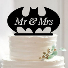 Fashion Acrylic Wedding Cake Toppers Bat design MR & MRS Unique topper Gift High Quality