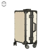 цена на Free Shipping Vintage Luggage PP Aluminum Frame Luggage TSA Code Lock Hardside Women Suitcase With Universal Wheel Trolley Case