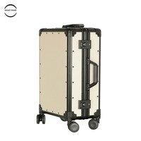 Free Shipping Vintage Luggage PP Aluminum Frame Luggage TSA Code Lock Hardside Women Suitcase With Universal Wheel Trolley Case