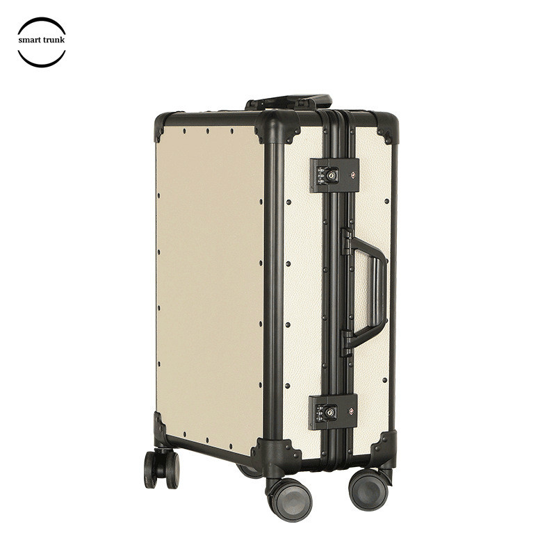 Livraison gratuite Vintage bagages PP cadre en aluminium bagages TSA Code serrure Hardside valise femmes avec roue universelle boîtier de chariot