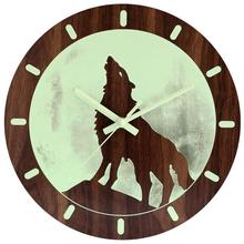 TOP!-Night Light Wall Clock Unique Vintage Rustic Country Decorative Home Living Room Kitchen Bedroom 12 Inch Non-Ticking Quar