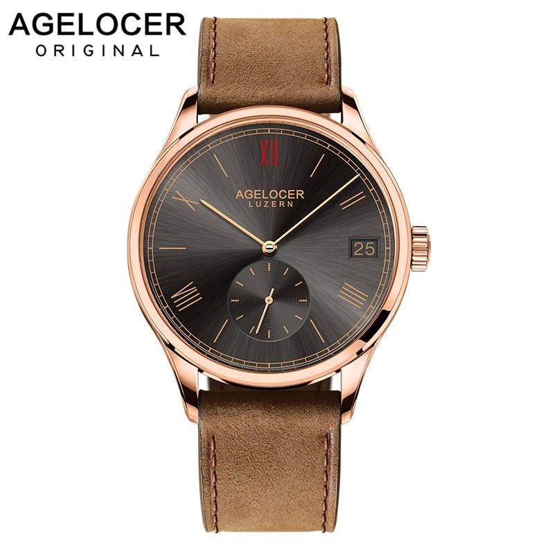 Montre-bracelet de luxe AGELOCER montre de rôle mécanique de marque suisse automatique grande Date fenêtre deuxième disque militaire montre Fossiler hommes