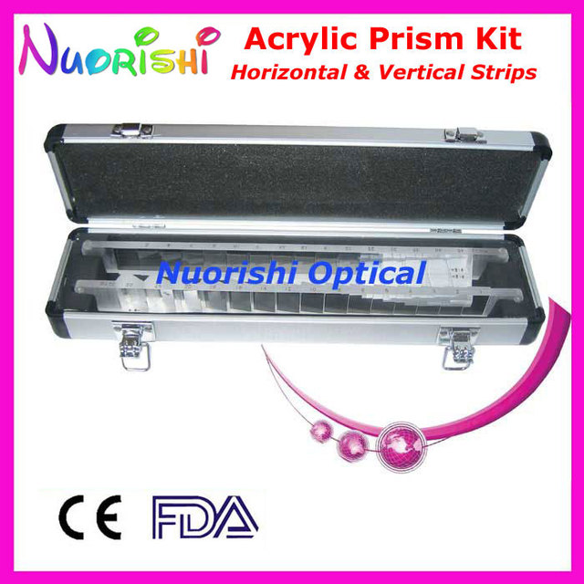 Oftálmica óptico optometria acrílico Horizontal Vertical lente de prisma tiras Kit Set alumínio caso embalado HVB16 frete grátis