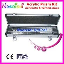 Optometría óptica oftálmica, acrílico, Prisma Vertical Horizontal, juego de tiras de lente, estuche de aluminio empaquetado HVB16, Envío Gratis