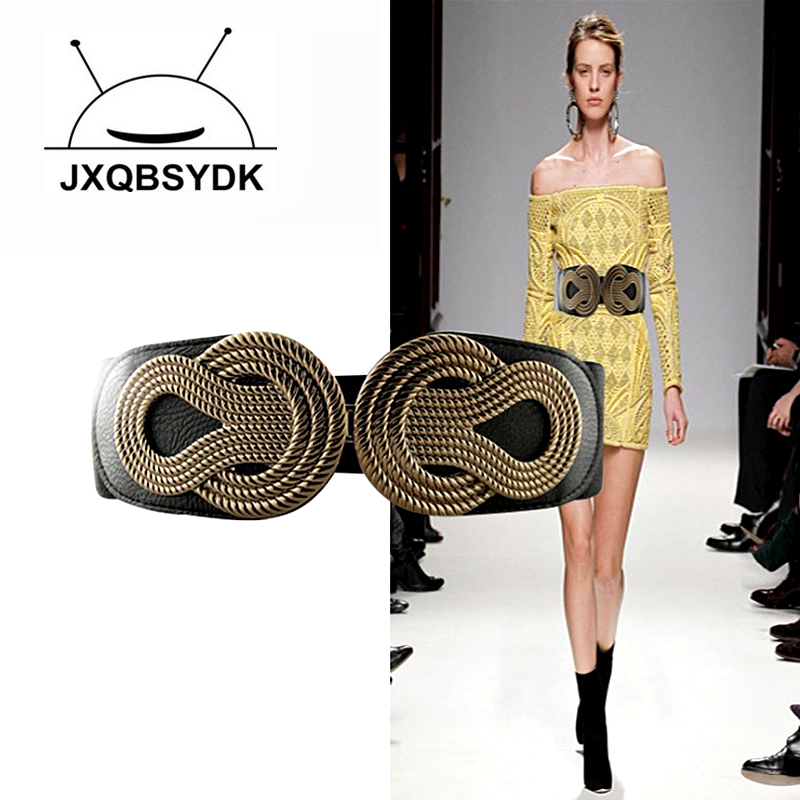 JXQBSYDK Fashion European and American Style Belts for Women Belts 6cm Wide Female Elastic Corset Belts Ceinture Femme