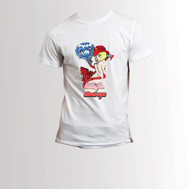 Hook Ups Skateboard Sexy Fire Extinguisher White T-Shirt Tee ...