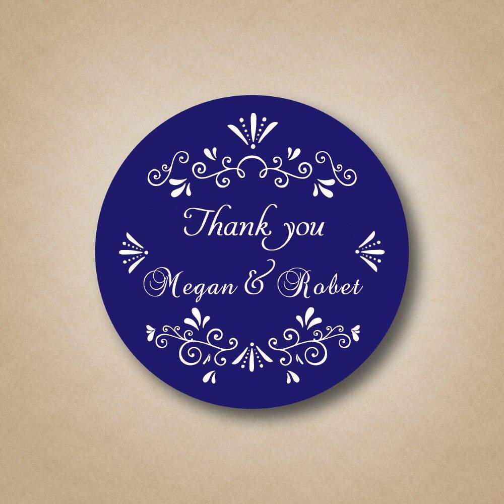 Customized Blue Wedding Favor Labels Stickers Custom Wedding Favors