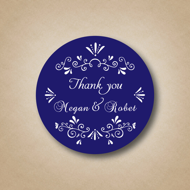 Customized Blue Wedding Favor Labels Stickers Custom Favors Thank You Sticker On Wine Bottle