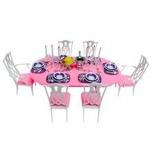 Новое поступление, кукольные аксессуары, мебель для дома, современный обеденный стол с 6 стульями, столовые приборы для Барби, подарок на Рождество/День рождения