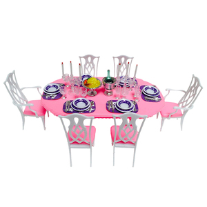 New Arrival Doll Accessories Home Furniture Modern Dining Table with 6 Chairs Tablewares for Barbie Kids Christmas/Birthday Gift