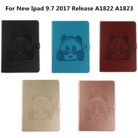 Panda Flip Folio PU Leather Book Stand Cover Cases For For Coque New IPad 2017 9