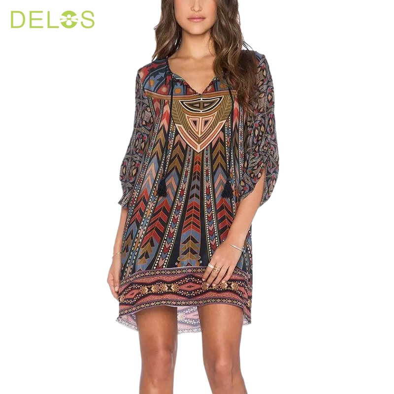 Delos Summer Style Indian Baroque Elegant Dress Vintage