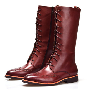 c99fadf7045 Moda estilo británico marrón/Negro rodilla alta botas de hombre de cuero  genuino para hombre