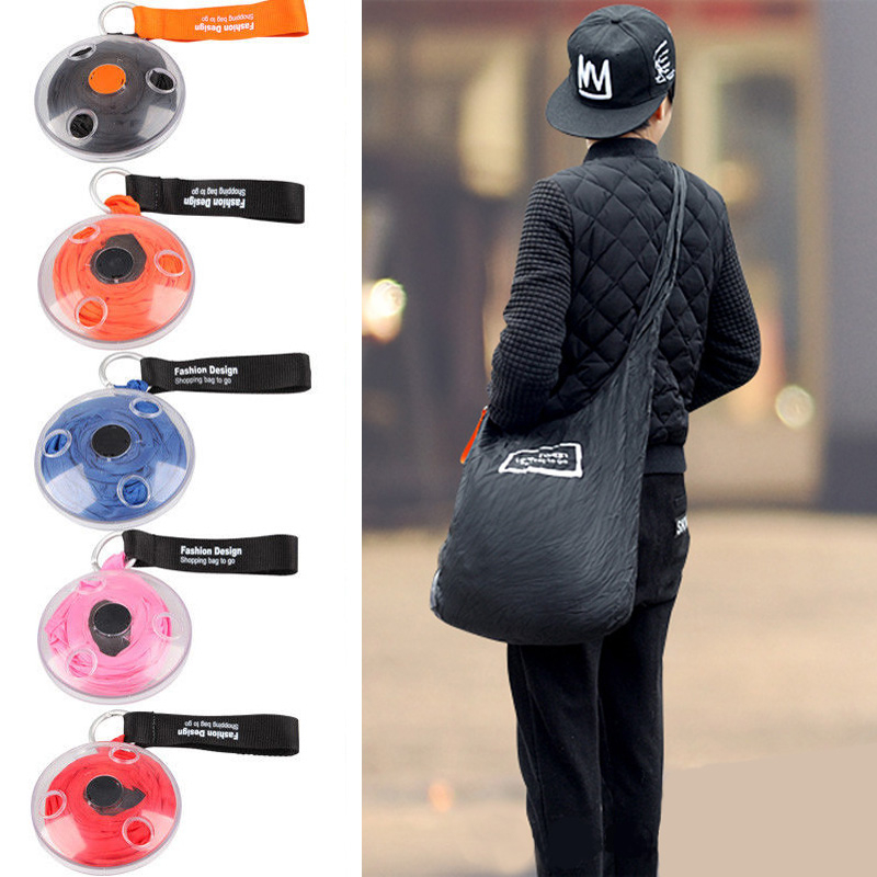 New 2019 Portable Tote In Pouch Reusable Folding Eco Shopper Shopping Shoudler Bags Organizer With Carabiner Shopping Bag