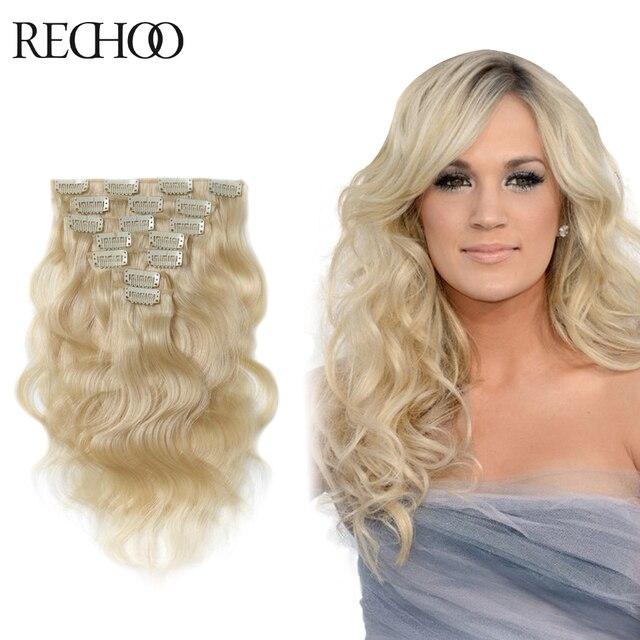 Один клип наращивание волос волны толстые клип на наращивание волос реми клип в человеческих волос платиновая блондинка цвет # 60