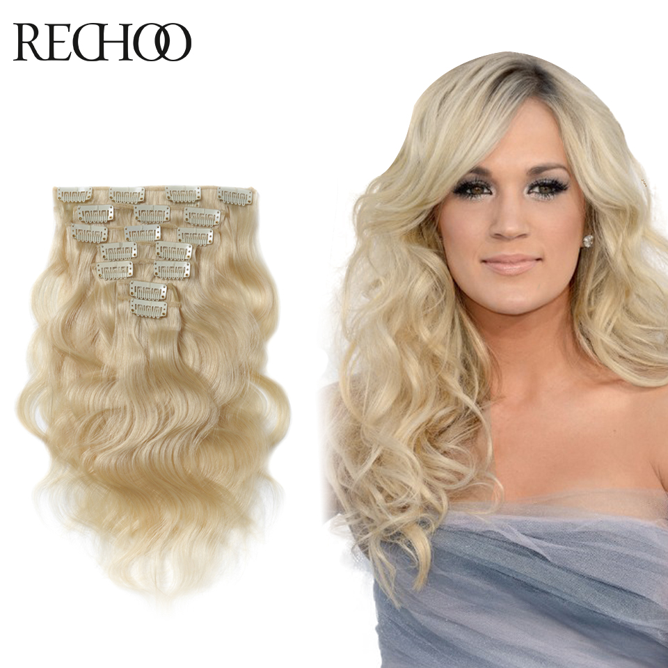 One Clip Hair Extensions Body Wave Thick Clip On Hair Extensions Remy Clip In Human Hair Extensions Platinum Blonde Color #60