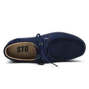 Image 3 - STQ 2020 Autumn Women Flats Shoes Thick Soled High Platform Shoes Leather Suede Ladies Casual Shoes Lace Up Flats Creepers 3235