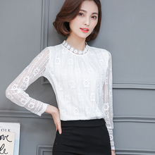 Free shipping New 2017 fashion round neck women white lace Long sleeve Lace blouse shirt sexy summer hollow out Black 169B