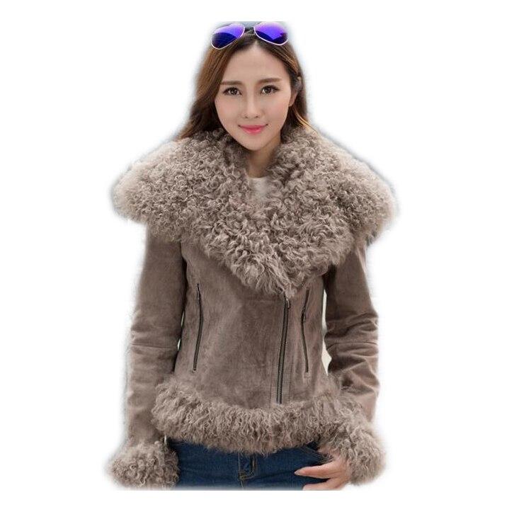 Harppihop Women Real Sheep Fur Coat Winter Warm Fashion Genuine Merino Sheepskin Leather Jacket Natural Real leather  Coat