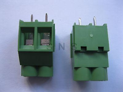 250 pcs Green 2 pin 6.35mm Screw Terminal Block Connector Wire Cage Type DC635 20078 2 pin pcb screw terminal block connectors green 15 piece pack