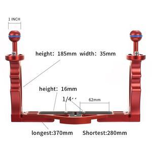 Image 4 - Soporte de bandeja para manija de buceo, montaje con varilla de extensión de obturador ajustable, cámara DSLR SLR, estuche impermeable, fotografía subacuática