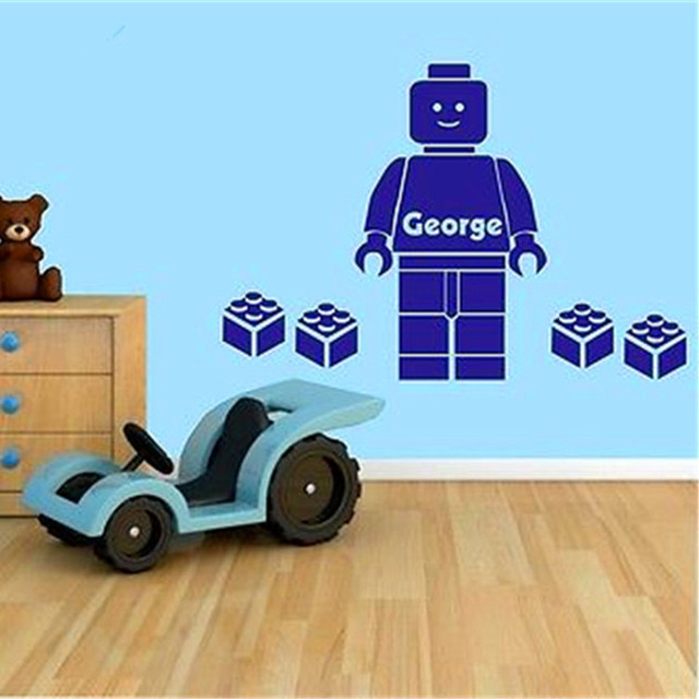 customer made 3d lego wall sticker personalised boys personalized