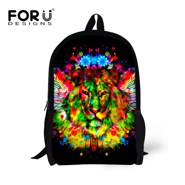 d4b9cc948a FORUDESIGNS Stylish Angel Wing Children School Bags 3D Lion Tiger Cat  Leopard Bookbags for Kids Boy