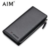 AIM Men Clutch Wallet Long Purse Wallet Luxury Male Genuine Leather Wallet Men Zipper Purse Male