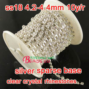 Newly 10yard ss18 clear Glass Rhinestone Chain Trimming Sew On Silver Base Density Trim Crystal Cup Chains diy Dress making