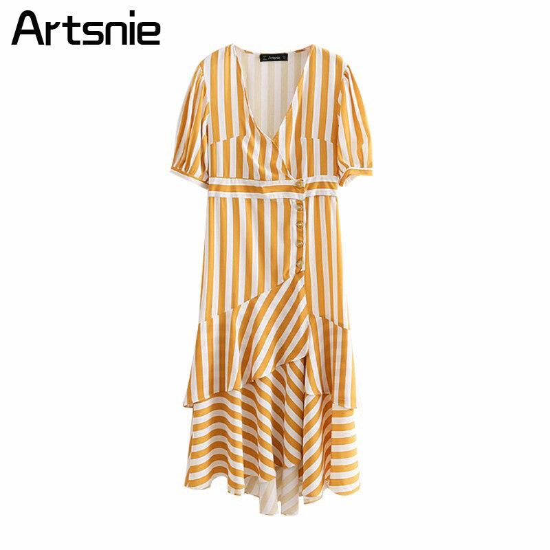 Artsnie Yellow Striped Casual Summer Maxi Long Dress Women High Waist V Neck Ruffles Asymmetrical Ladies Dresses Vestidos 2018