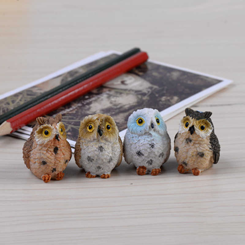 1PC Random Color Mini Resin Owl For Miniature Bonsai Fairy Garden Micro Landscape Home Garden Decoration Resin Crafts